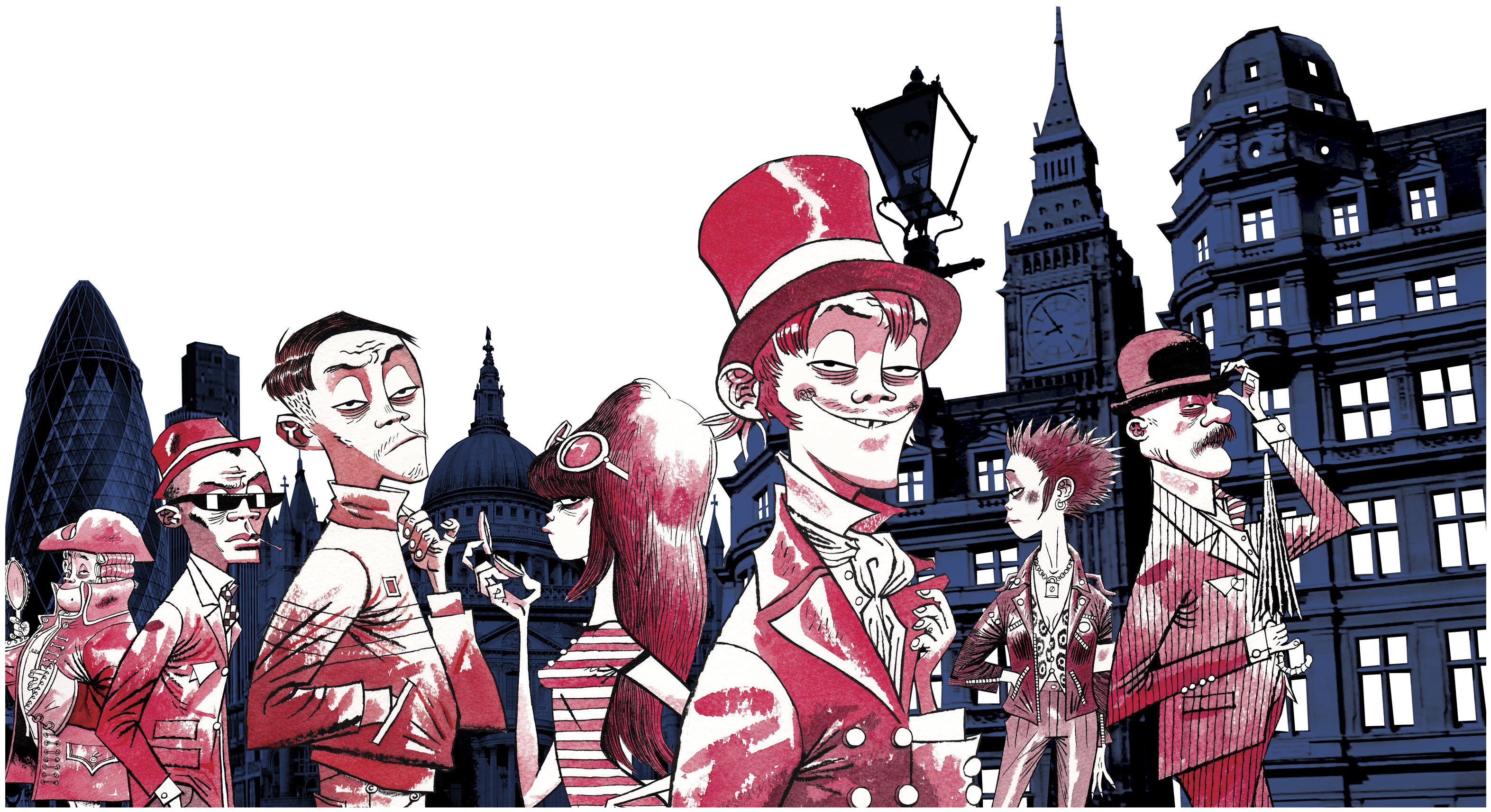 Character Design London : Jamie hewlett for absolut london sixand