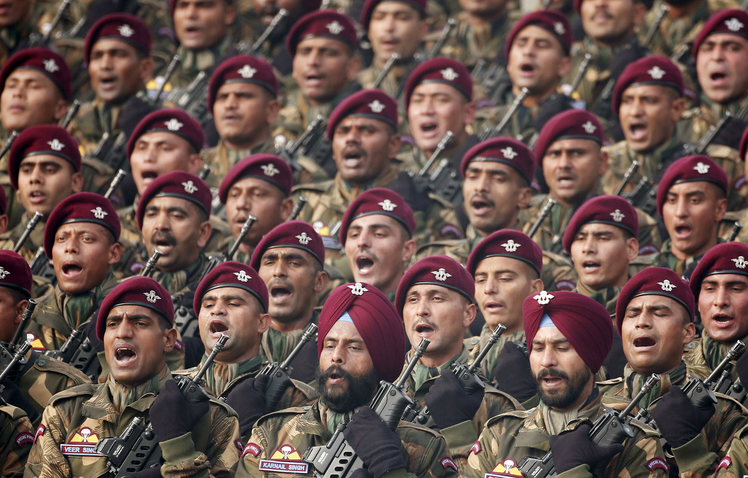 Indian soldiers march during the Republic Day parade in New Delhi