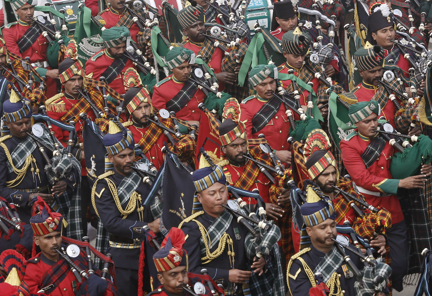 Members of Indian military band take part in the Republic Day parade in New Delhi